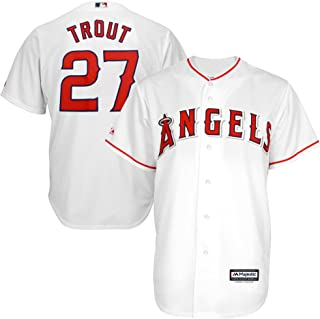 Mike Trout #27 Los Angeles Angels of Anaheim MLB Majestic Youth White Home Cool Base Replica Jersey (Youth X-Large 18)