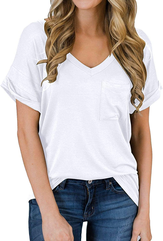 MIHOLL Women's Short Sleeve V-Neck Shirts Loose Casual Tee T-Shirt