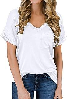 Women's Short Sleeve V-Neck Shirts Loose Casual Tee T-Shirt