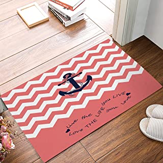 Infinity Live The Life You Love, Love The Life You Live.Coral and White Chevron Zig Zag Pattern with Anchor,Pink Navy Bathroom Rugs Toilet Sets Super Soft Machine Washable Bath Mats 18x30inch
