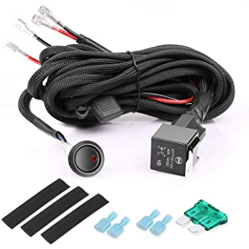 Amazon.com: SWATOW INDUSTRIES 2 Lead Nylon LED Wiring Harness Kit Loom with  Rocker Switch 40A Relay Fuse for LED Light Bar LED Pods Fog Lights Off Road  Driving Lights LED Work LightsAmazon.com