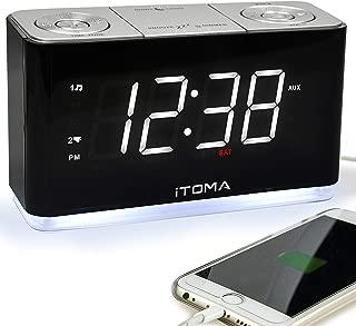 iTOMA Alarm Clock Radio, Digital FM Radio, Dual Alarm, Cell Phone USB Charge Port, Night Light, Auto & Manual Dimmer, Snooze, Sleep Timer,Battery Backup (CKS507)