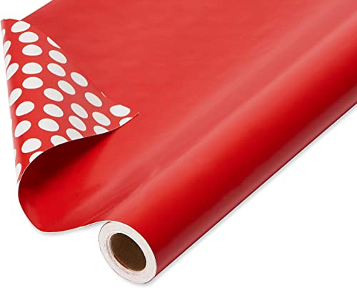 American Greetings Reversible Wrapping Paper Jumbo Roll, Solid Red and White Polka Dots (1 Pack, 175 sq. ft.)