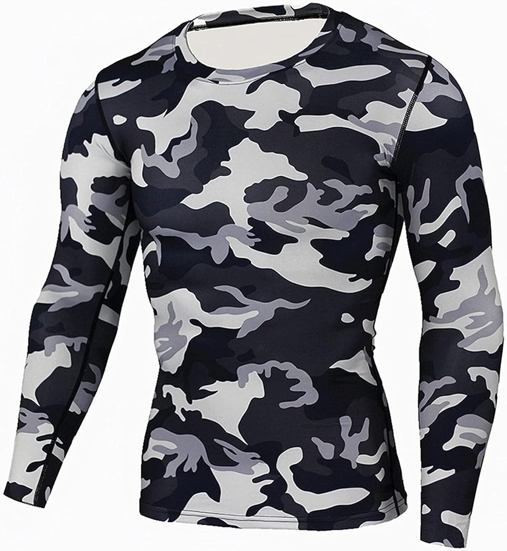 GELTDN Thermal Underwear Men Quick Dry Sport Clothes for Men Camouflage Underwear Top Inner Shirt (Color : C, Size : XL Code)