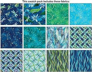 Benartex DANCE OF THE DRAGONFLY 12 Fat Quarters Cotton Fabric Quilting Assortment (Blue)