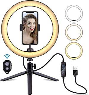 Ring Light with Stand and Phone Holder, Dimmable Desk Makeup Light Ring for Live Stream,Makeup,YouTube Video/Photography Selfie Ring Light, 10 Inch USB 3 Modes 11 Brightness Levels Adjustable