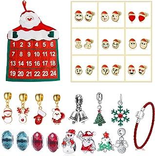 Christmas Countdown Advent Calendar Santa Claus Father Design Countdown Calendar Fashion DIY Charms Beads Bracelet Emoji Ear Studs Set Christmas Jewelry Gifts Home Xmas Christmas Hanging Decoratoins