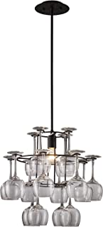 Elk 14040/1 Vintage 1-Light Chandelier in Dark Rust with 16 Wine Glasses