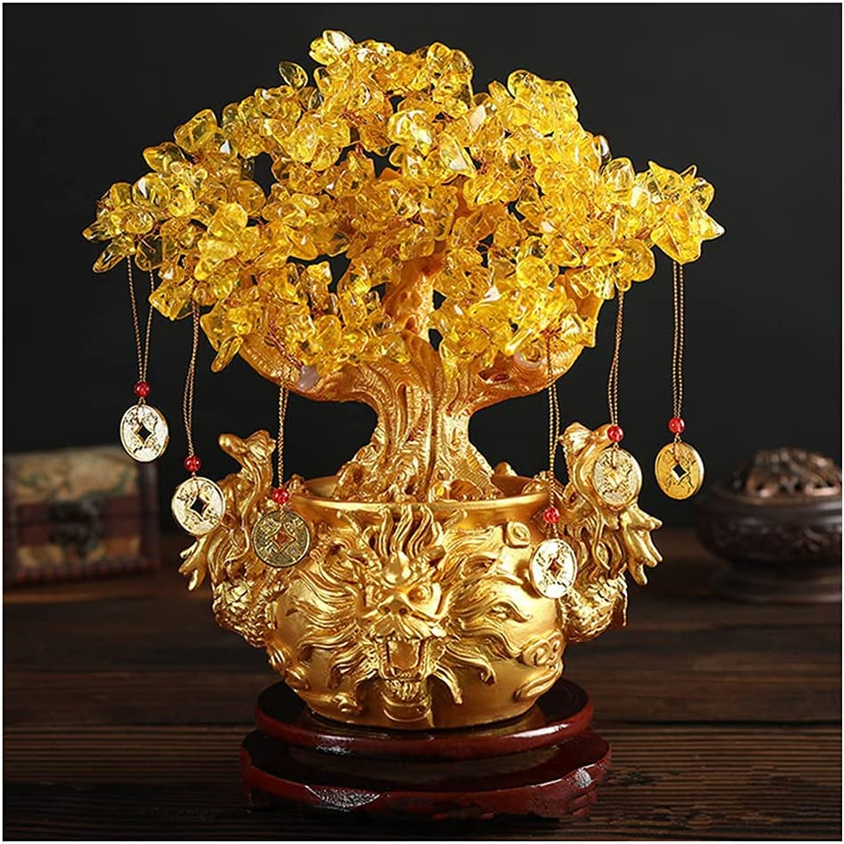 Feng Shui Decor Plants Flowers Artificial Trees Yellow Crytal Citrine Money Tree with Chinese Dragon Flowerpot About 7.1 Inches