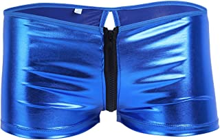 YiZYiF Men's Underwear Patent Leather Zipper Openwork Boxer Briefs