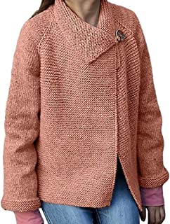 Womens Lapel Casual Warm Long Sleeve Button Jumper Knitted Loose Tops Sweater Coat
