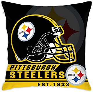 Marrytiny Custom Pillowcase Colorful Pittsburgh Steelers American Football Team Linen Bedding Pillow Covers Pillow Cases for Sofa Bedroom Bedding Car Home Decorative - 18x18 Inches