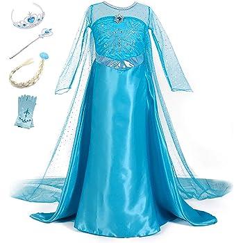 YOSICIL Vestido de Princesa Elsa Vestido Frozen Niñas Disfraz ...