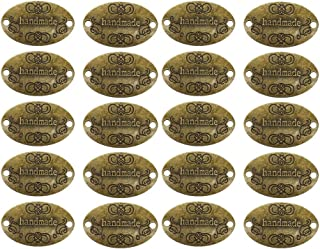 EvaGO 60 Pieces Metal Handmade Tag Label Handmade Tags Button with 2 Holes Metal Tag Signs for Jewelry Making Crafts, Sewing Clothing Decoration and More, Antique Bronze
