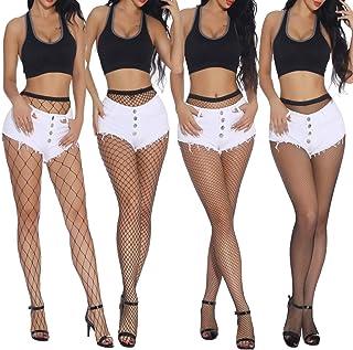 NATUCE, 4 Pares de Medias de Rejilla, Mujeres Elástico Medias de Cintura Alta, Rejilla de Calcetines Medias de Malla Pantimedias, Negro