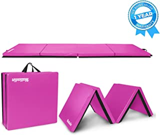 Matladin 8' Folding Gymnastics Gym Exercise Aerobics Mat, 8ft x 2ft x 2in PU Leather Tumbling Mats for Stretching Yoga Cheerleading Martial Arts