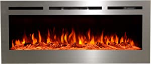Touchstone 86273 - Sideline Stainless Steel Electric Fireplace - 50 Inch Wide - in Wall Recessed - 5 Flame Settings - Multiple Color Flame - 1500/750 Watt Heater - Log & Crystal Hearth Options