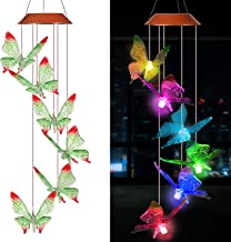 xxschy Solar Green Butterfly LED Wind Chimes Outdoor- Waterproof Solar Powered LED Changing Light Color 6 Butterflies Mobile Romantic Wind-bell For Home, Party, Festival Decor, Night Garden Decoration