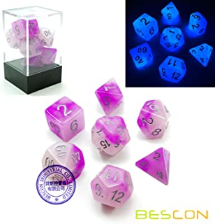 Bescon Two Tone Glowing Polyhedral Dice 7pcs Set Frosty Amethyst, Luminous RPG Dice Glow in Dark, DND Role Playing Game Dice