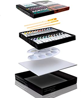 Colori Acrilici Professionali - Box con 24 Tubetti da 12 ml reali 3 Pennelli con Manico in Legno 1 Tela per Dipingere e 1 ...