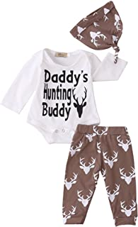 Toddler Baby Boys Funny Bodysuits with Leggings and Hat 3pcs Outfit Clothes