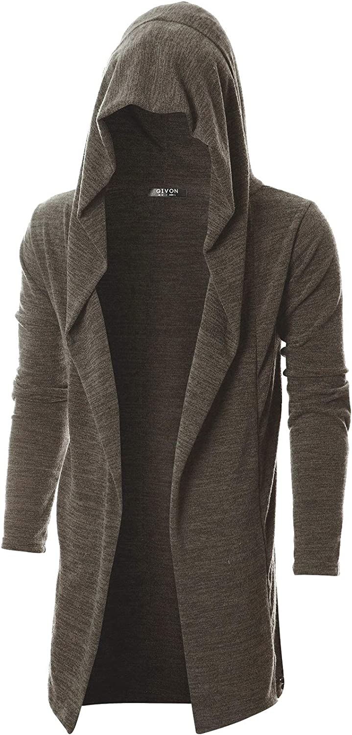 GIVON Mens Long Sleeve Draped Lightweight Open Front Longline Hooded Cardigan at  Men's Clothing store