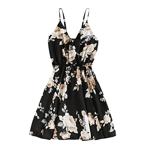 914ab98a3e SheIn Women's Casual Boho Summer V Neck Floral Print Cami Dress Black  One-Size