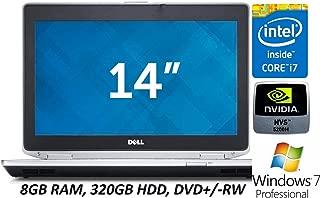 "Dell Latitude E6430 14"" Business Laptop PC, Intel Core i7 Quad-Core Processor, 8GB RAM, 320GB Hard Drive, DVD+/-RW, Nvidia Graphics, Windows 7 Professional (Certified Refurbished)"