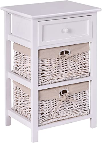 new arrival Giantex Wooden Nightstand outlet sale 3 Tiers W/ 2 Baskets and 1 Drawer Bedside sale Sofa Storage Organizer for Home Living Room Bedroom End Table (1, White) online sale