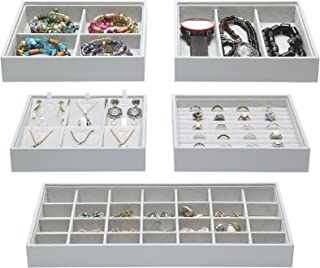 Magic Stackable Jewelry Trays Closet Dresser Drawer Organizer for Accessories, Gadgets & Cosmetics, Storage Display Showca...