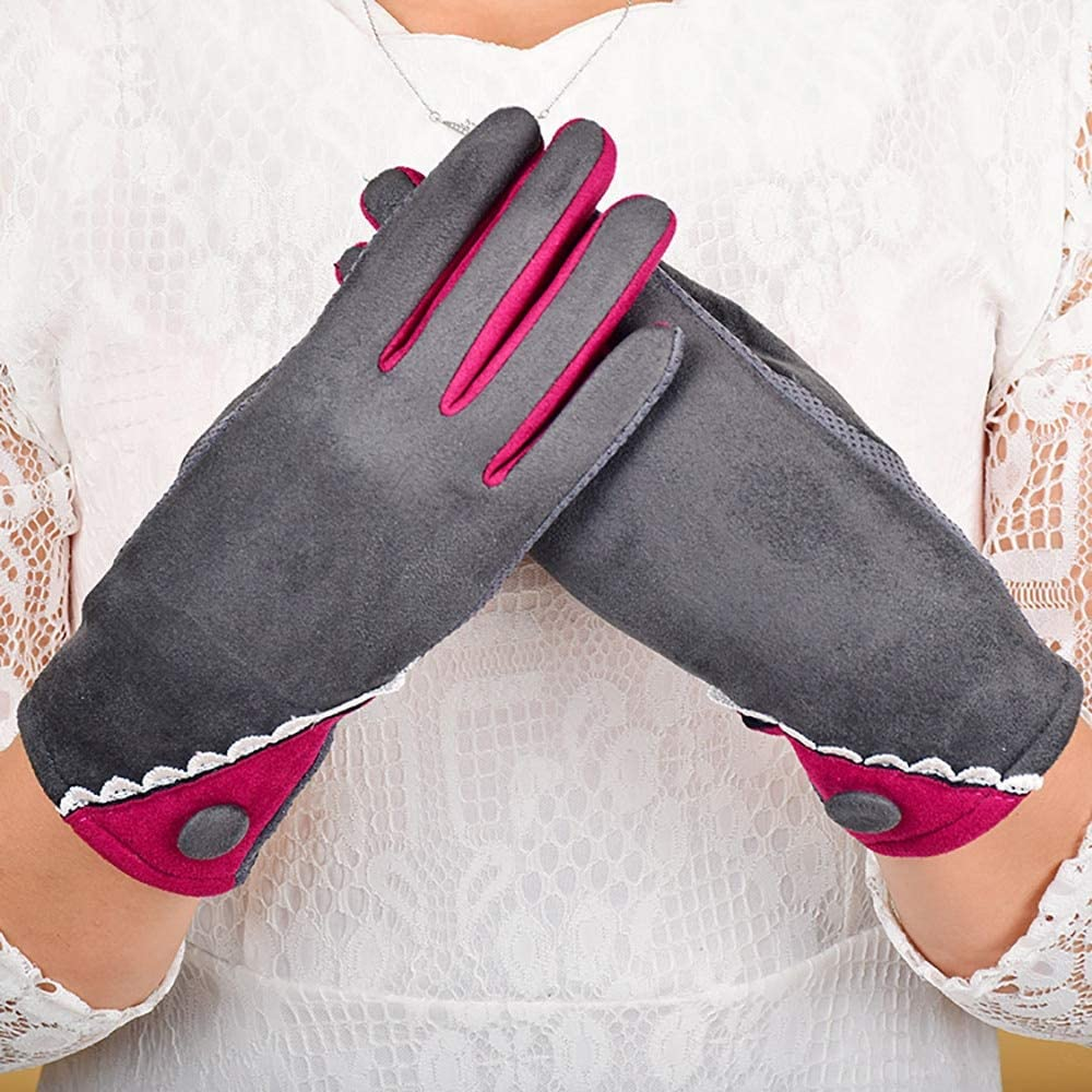 Women Velvet Warm Glove Soft Wrist Thick Mitten Full Finger Glove Color Stitching Screen Touch Gloves Lined Most Gloves Winter - (Color: D)