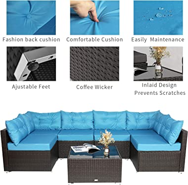 Einfach 7 Pieces Patio Furniture Sets, Rattan Conversation Sofa Chair with Glass Coffee Table, Outdoor & Indoor (Blue)