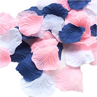 ALLHEARTDESIRES 900 Pack Mixed Navy Blue Pink White Artificial Silk Rose Petal Flower Centerpieces Table Scatters Confetti First Birthday Nautical Wedding Baby Shower Decoration Favor