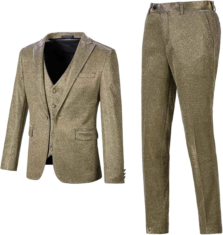 FAIOKAVER Men's 3-Piece Suits Los Angeles Mall for Wedding Party Slim Fit Tu Gold famous
