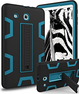 Samsung Galaxy Tab E 9.6 Case,XIQI Three Layer Hybrid Rugged Heavy Duty Shockproof Anti-Slip Case Full Body Protection Cover for Tab E Nook 9.6 inch(SM-T560),Black/Bule