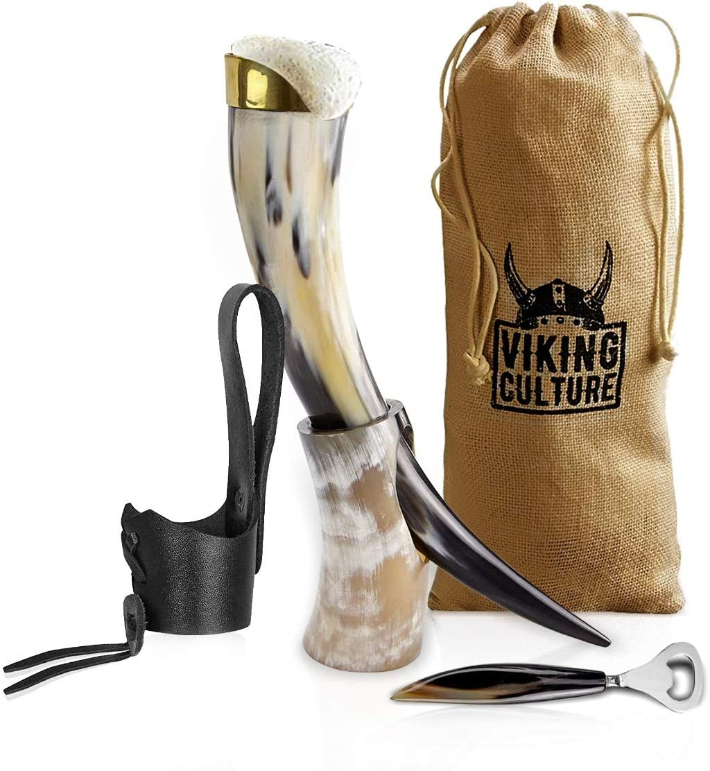 Medieval Inspired Beer Drinking Mug Viking Drinking Horn with stand