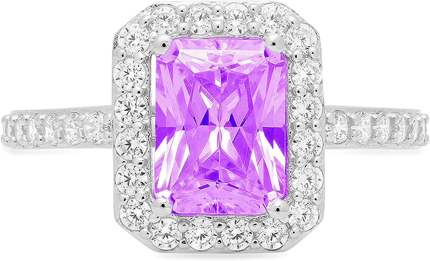 2.04ct Brilliant Emerald Cut Solitaire with Accent Halo Natural Purple Amethyst Gem Stone VVS1 Designer Modern Statement Ring Solid 14k White Gold Clara Pucci