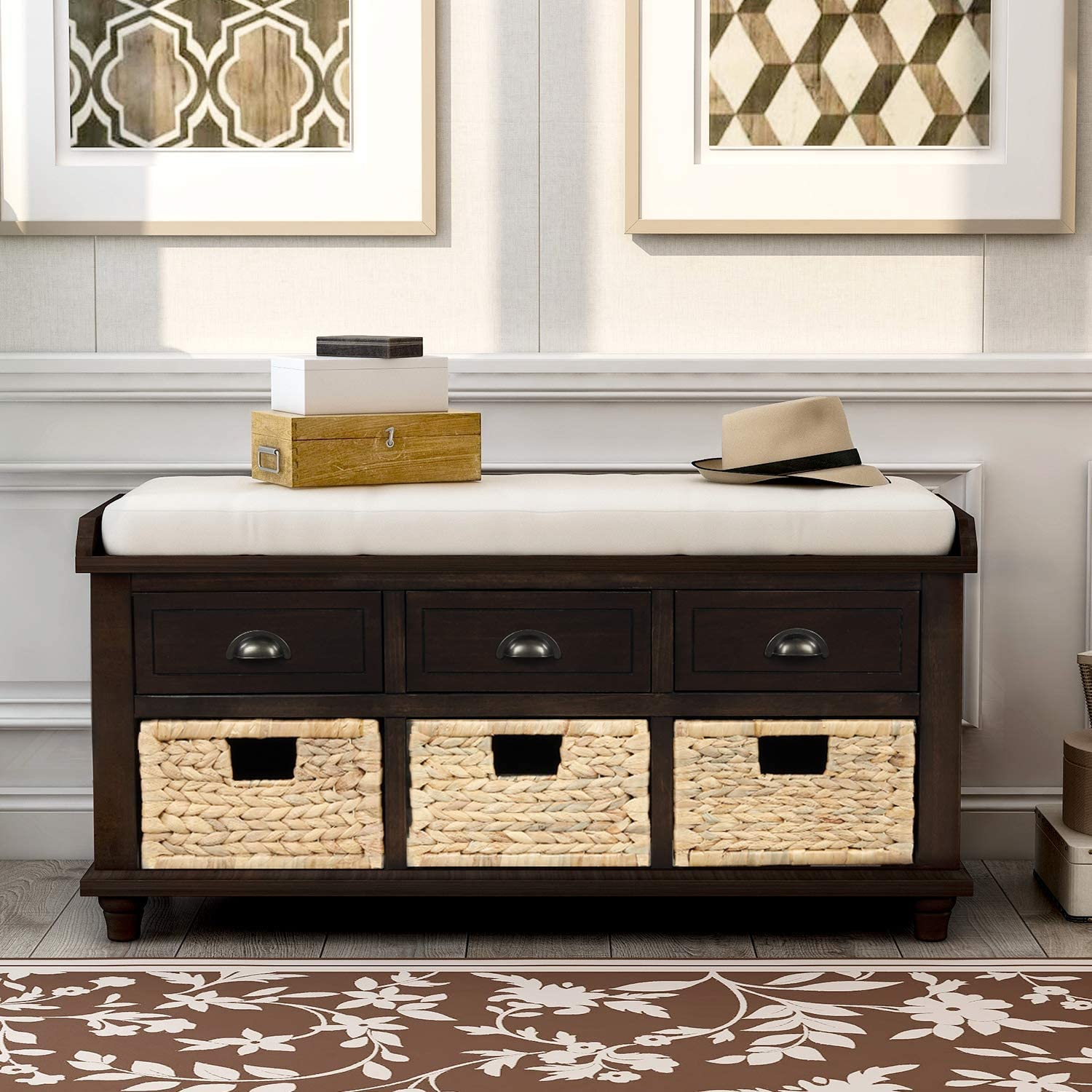 P PURLOVE Rustic Storage Bench 3 Dra New mail order with specialty shop Entryway