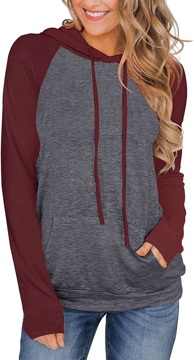 PINKMSTYLE Womens Color Block Hoodies Casual lightweight Drawstring Pullover Sweatshirt Fall Long Sleeve Tops with Pocket