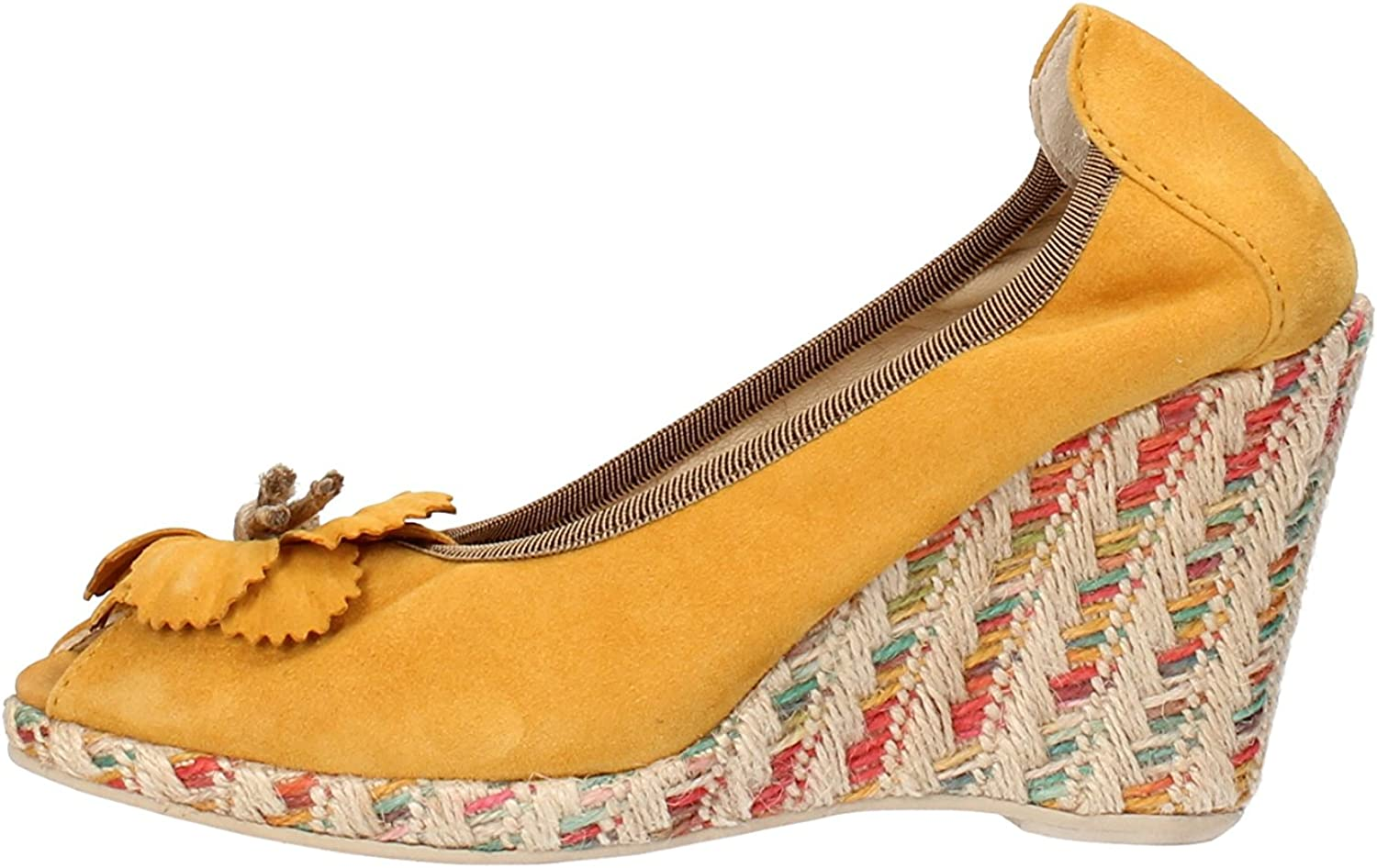 CALPIERRE Wedges-Sandals Womens Suede Yellow