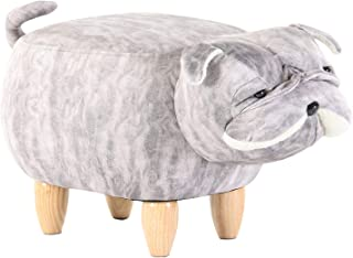 Artechworks Upholstered Ride-On Ottoman Footrest Stool with Vivid Adorable Animal-Like Features,Perfect for Gift, Changing Shoes, Decoration, Toys, Without Storage(Dog)