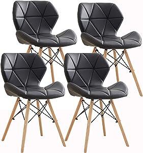Ensemble de 4 Chaise PU Cuir Rétro Chaise,Eiffel Millmead Inspiré À Manger Chaise De Bureau Lounge, Papillon Type Dossier À Manger Chaise (Noir)