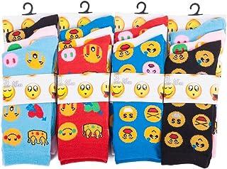 Louise23, Imtd 12prs Mujer Chica Divertido Dibujo Novedad Rostros Íconos Estampado Calcetines Emoticono Estilo Calcetines Divertido Rostros Calcetines