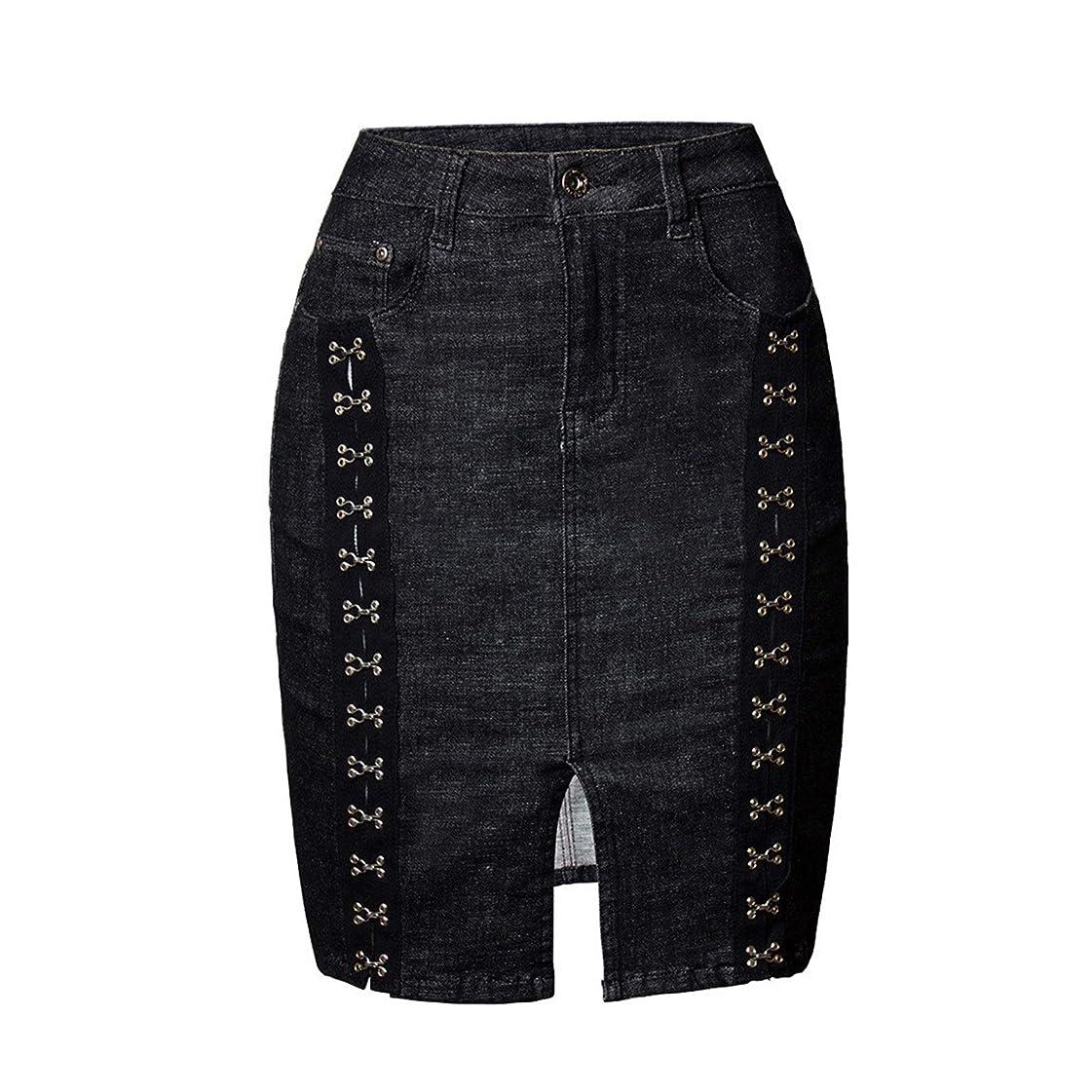 練習具体的に名誉あるレディーススカート レディースボディスリミングブラックバッグヒップスカートショートスカートリベットを開きバックルスプリットデニムスカート スリム フィット (Color : Black, Size : Large)