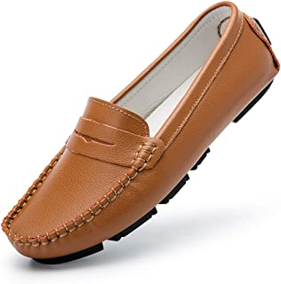 Women's Penny Slip-On Loafers Leather Driving Shoes Classic Casual Flat Moccasins