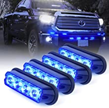 Xprite Blue 4 LED 4 Watt Emergency Vehicle Waterproof Surface Mount Deck Dash Grille Strobe Light Warning Police Light Head with Clear Lens - 4 Pack