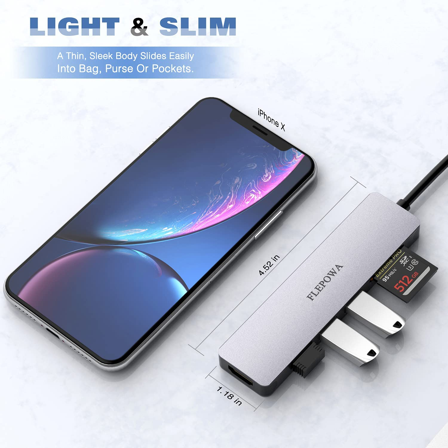 USB C Hub Multiport Adapter - Portable USB C Adapter with 4K HDMI Output, 3 USB 3.0 Ports, SD/Micro SD Card Reader for MacBook Pro, Chromebook, XPS & More Type C Devices, Space Grey