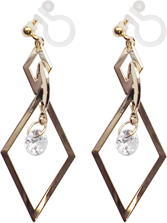 Comfortable Diamond Cubic Zirconia Cz Crystal Invisible Dangle Clip On Earrings Miyabi Grace For Women