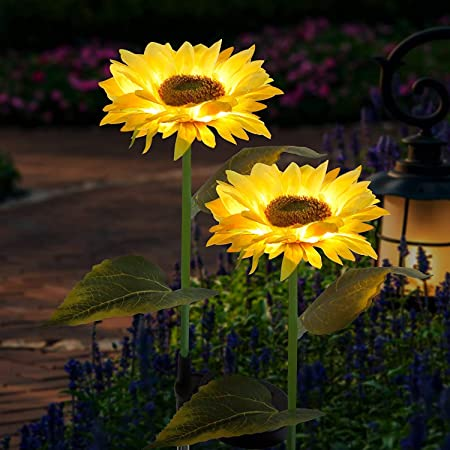 Sunflower Solar Lights Outdoor, 2 Pack Decorative Waterproof Solar Lights Outdoor Garden Stake, Sunflower Solar Garden Lights, Outdoor Patio Garden Sunflower Decor