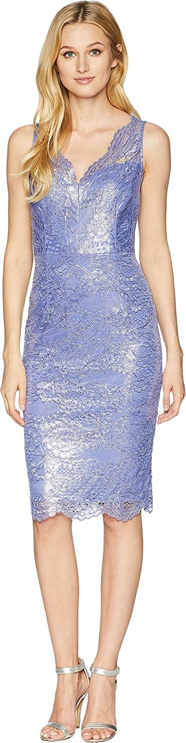 Adrianna Papell Womens Sleeveless Scallop VNeck Lace Cocktail Dress